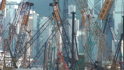 Cranes, construction, Hong Kong, skyline Stock Video Footage