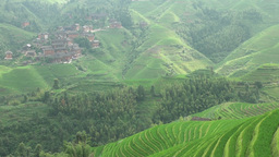 Beautiful rice terraces in China Stock Video Footage