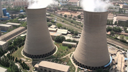 Coal fired powerplant, energy, China, Lanzhou, cit Stock Video Footage