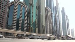 Dubai traffic and skyline Stock Video Footage