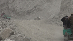 Dusty road, aid transport, Northern Pakistan Stock Video Footage