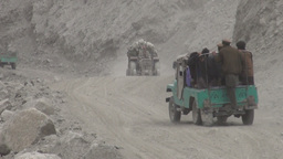 Dusty road, aid transport, Northern Pakistan Footage