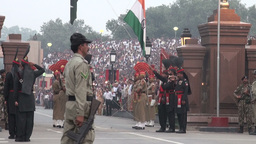 Flag lowering ceremony India Pakistan at Wagah bor Footage