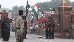 Flag lowering ceremony India Pakistan at Wagah bor Stock Video Footage