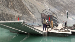Pakistani government vessel at Attabad lake Stock Video Footage