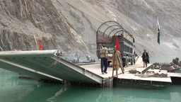 Pakistani Government Vessel At Attabad Lake stock footage