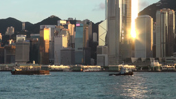 Hong Kong skyline, reflection Stock Video Footage