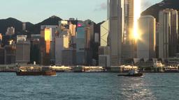 Hong Kong skyline, reflection Footage