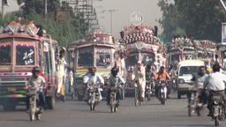 Busy traffic in downtown Karachi, Pakistan Stock Video Footage
