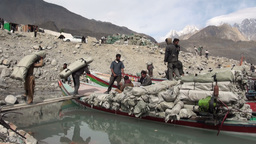 Loading Vessels With Bags Of Chinese Aid In Northe stock footage
