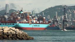 Cargo Ship Leaves Hong Kong Port stock footage