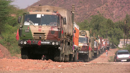 Military trucks in India Stock Video Footage