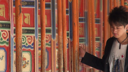 Pilgrims, China, religion, prayer wheels, beautifu Stock Video Footage