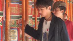 Pilgrims, China, religion, prayer wheels, beautifu Stock Video Footage