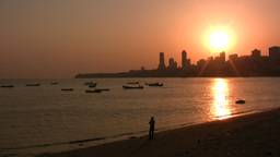 Lonely Indian at captivating Mumbai sunset Stock Video Footage