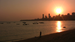 Lonely Indian at captivating Mumbai sunset Footage