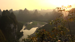 Stunning panorama at sunset, karst scenery, China Stock Video Footage