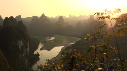 Stunning panorama at sunset, karst scenery, China Stock Video Footage