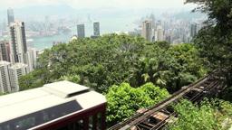 Tourism, tram, Hong Kong, city, skyline Stock Video Footage