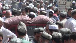 Trading, market, bazaar, Uyghur, China Stock Video Footage
