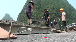 Workers, plough, cement, handwork, China Stock Video Footage