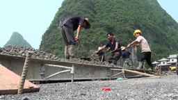 Workers, plough, cement, handwork, China Footage