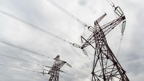 Electricity pylon, Time Lapse Stock Video Footage