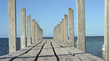 Tracking Shot Of A Small Jetty stock footage