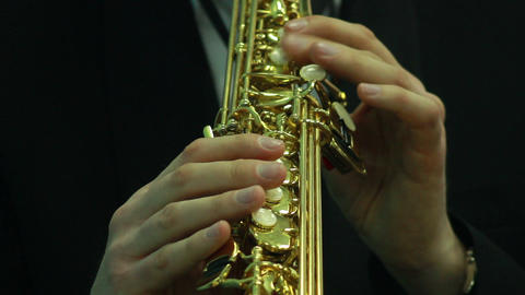 Hands play wind instrument 2 Stock Video Footage
