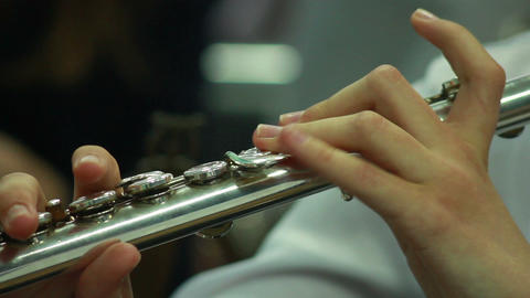 Hands play wind instrument 4 Stock Video Footage