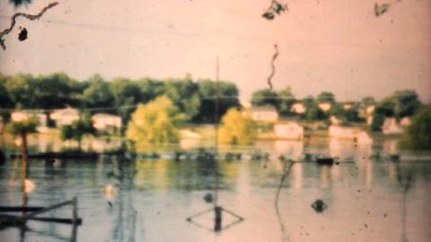 Flooded Neighborhood In Dallas Texas 1948 Vintage 8mm stock footage