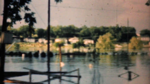 Flooded Neighborhood In Dallas Texas 1948 Vintage 8mm Stock Video Footage