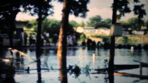 Flooded Neighborhood In Dallas Texas 1948 Vintage 8mm Stock Video Footage