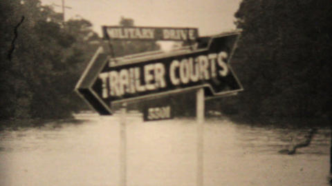 Flooded   Trailer   Court   In   Dallas   Texas  1948  Vintage  8mm stock footage