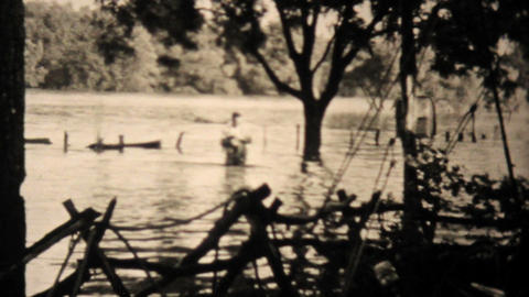 Flooded Trailer Court In Dallas Texas 1948 Vintage 8mm Stock Video Footage