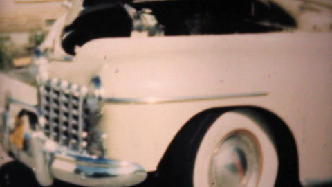 Old Car Damaged From A Flood 1948 Vintage 8mm Footage