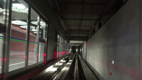 Subway Train Tunnel And Tracks Footage