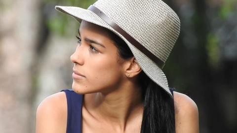 Beautiful Teen Girl Wearing Hat Footage