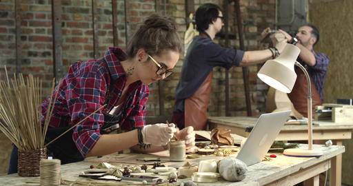 Busy Hipster Workshop Footage