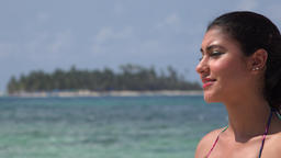 Female Tourist Summer Vacation Footage