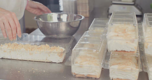 Baker preparing strawberry jam cheese cake Footage