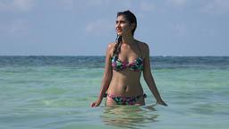 Woman Wearing Bikini In Ocean Footage