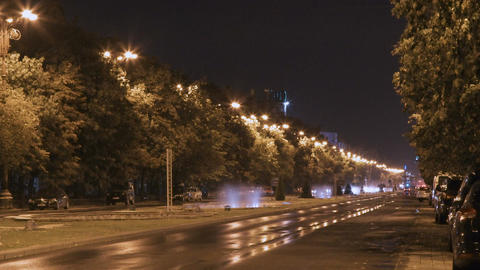 Night time lapse of a main street in Bucharest, Romania Footage
