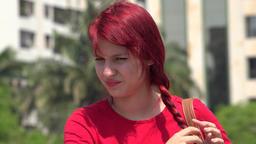 Unhappy Teen Female Redhead Footage