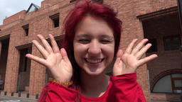 Teenage Female Redhead Making Funny Faces And Acting Goofy Footage