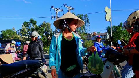 Woman in Hat Sells Vegetables on Street Market in Vietnam Footage