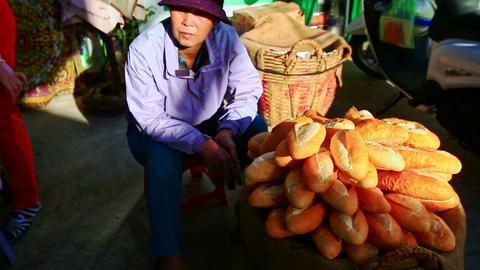 Closeup Large Heap of Vietnamese Baguettes at Street Market Footage