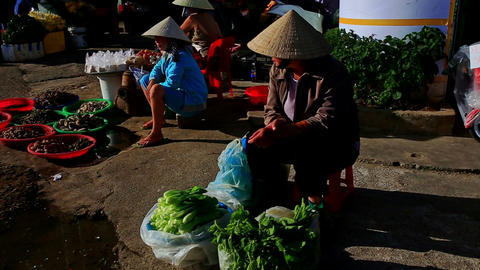Woman in Hat Sits Sells Greens at Street Market in Vietnam Footage