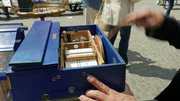 Closeup of a barrel organ mechanism Footage