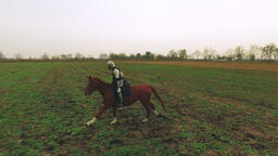 Camera following Knight riding a galloping horse over the field Footage